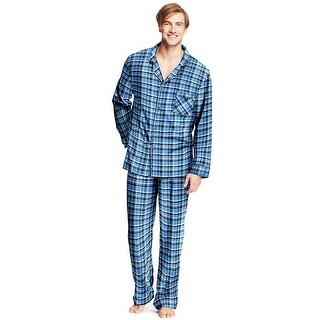 Hanes Men's Flannel Pajamas - Color - Blue Plaid - Size - L