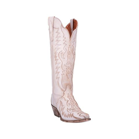 "Dan Post Western Boots Womens 16"" Shaft Hallie Snip Toe Bone"