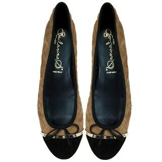 Bailarinas OLIVIA CUE Camel/Black Quilted Ballerina Flat