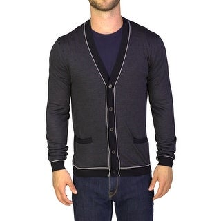 Prada Men's Virgin Wool Silk Cardigan Sweater Black Striped