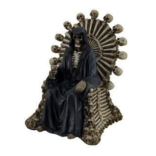 Darkness Rests Grim Reaper On Skull & Bones Throne w/Bone Chalice Statue