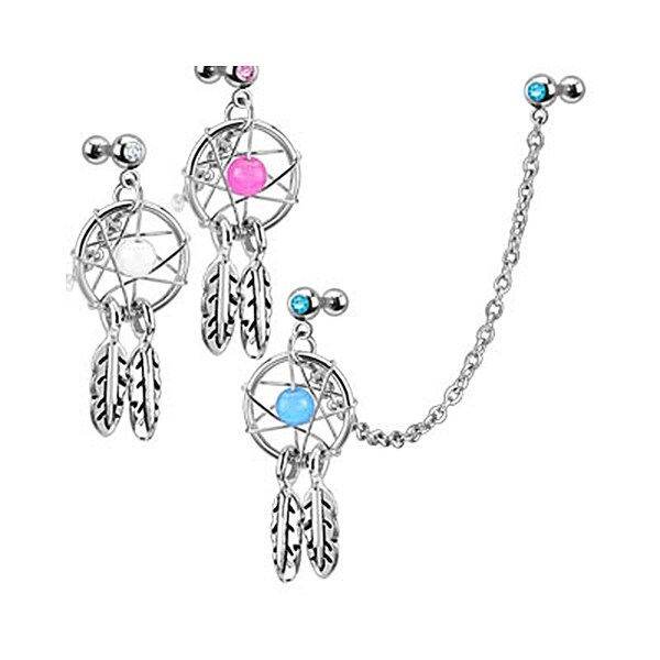 Dream Catcher with Gemmed Double Cartilage/Tragus Barbell Chain Linked Dangle Surgical Steel (Sold Ind.)
