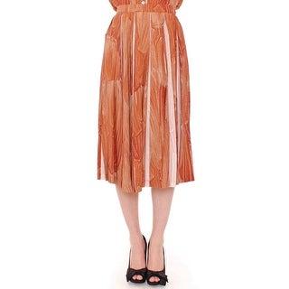 Licia Florio Licia Florio Brown Orange Below Knee Full Skirt