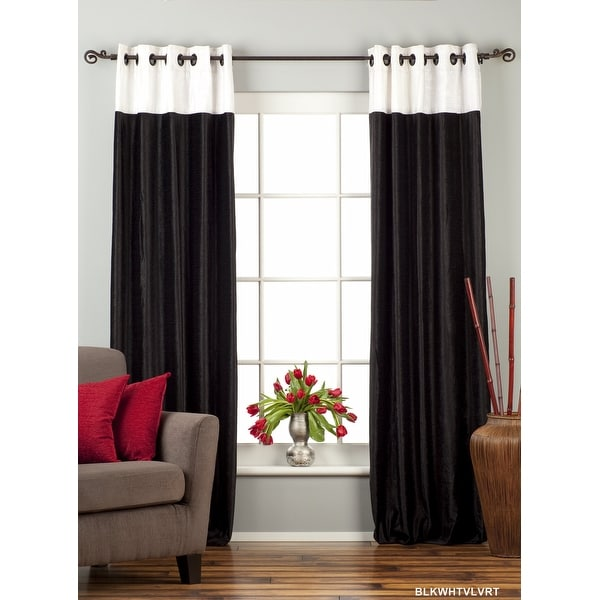 Signature Black and White ring top velvet Curtain Panel - Piece. Opens flyout.