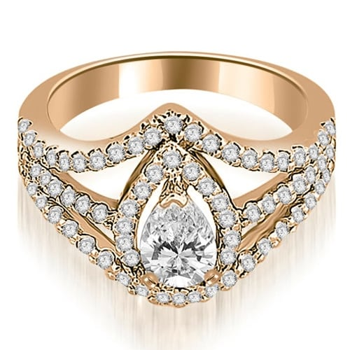 1.15 cttw. 14K Rose Gold Halo Pear Cut Diamond Engagement Diamond Ring