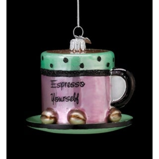 "3.25"" Coffee Break Noble Gems Glass Espresso Yourself Christmas Ornament"