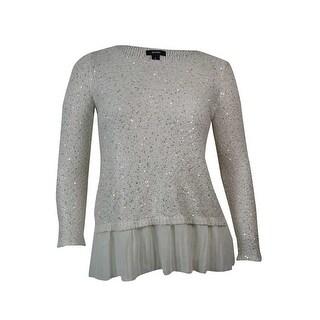 Alfani Women's Chiffon Hem Sequin Knit Sweater Blouse (2 options available)