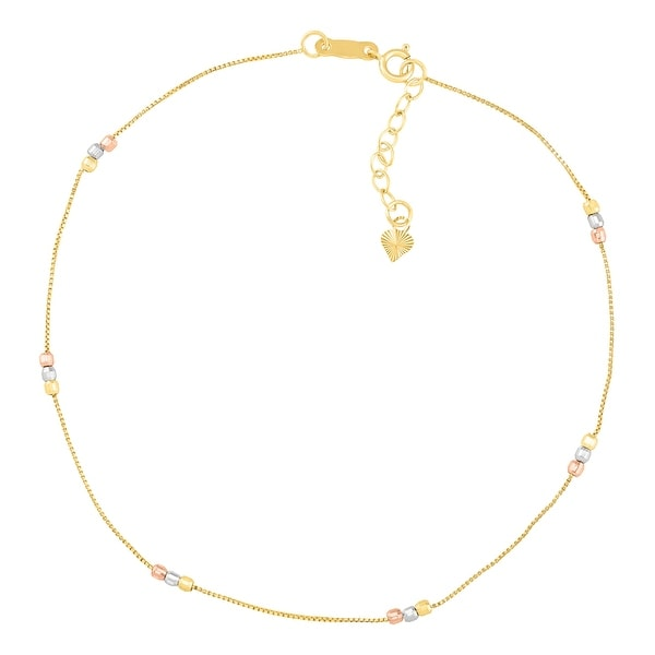 Just Gold Beaded Anklet in 14K Three-Tone Gold