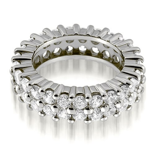3.50 cttw. 14K White Gold Two Row Round Cut Diamond Eternity Band Ring