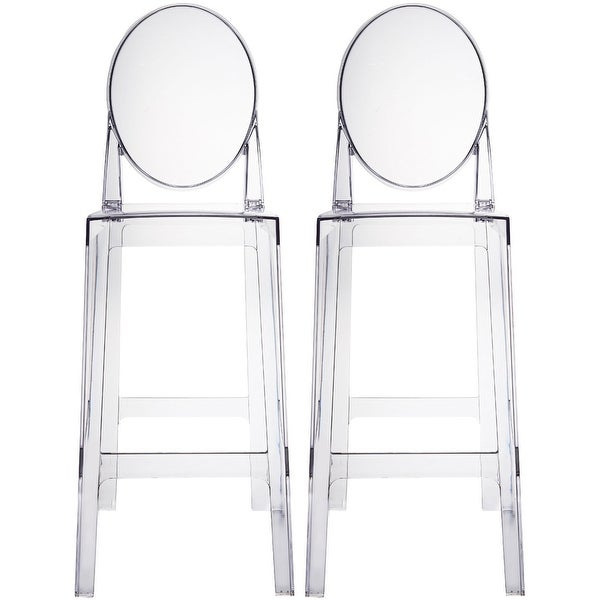 "2xhome-Set of Two (2) - Clear - 30"" Seat Height Barstool Modern Plastic Chair Side Bar Stool Counter Stool Accent Stools Armless"