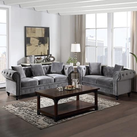 [Pre Sale] 2Pcs Chesterfield Sofa Set, Upholstered Loveseat & 5 Pillow