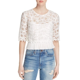 French Connection Womens Freddy Crop Top Pom-Pom Short Sleeves - 2