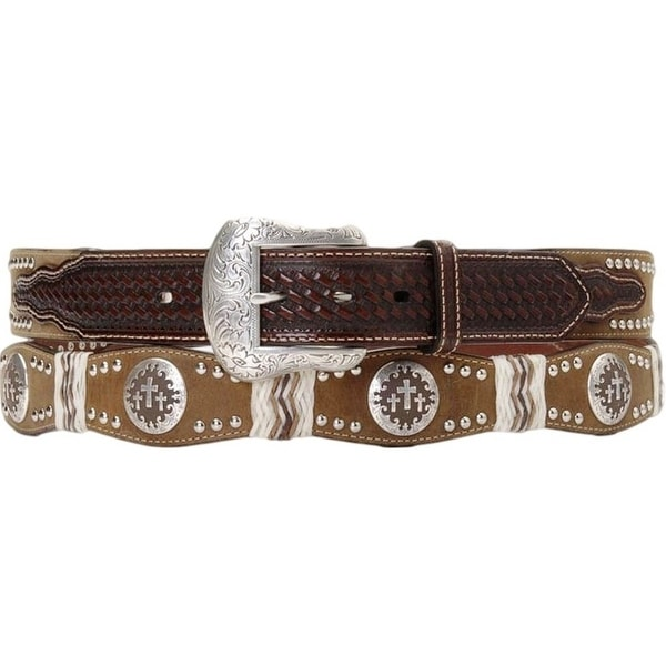 Nocona Western Belt Mens Leather Cross Concho Mocha