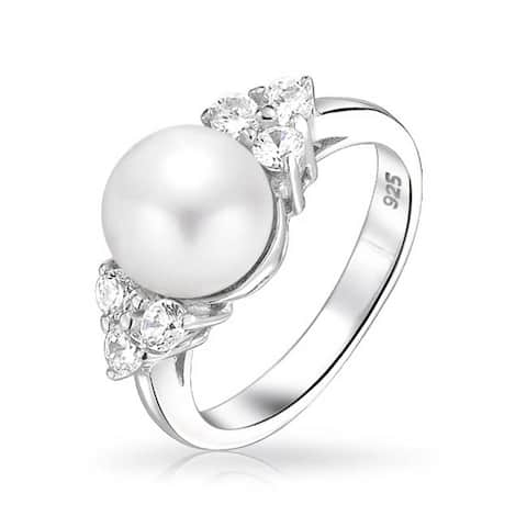Freshwater Cultured Pearl 9mm CZ Side Stone Ring 925 Sterling Silver
