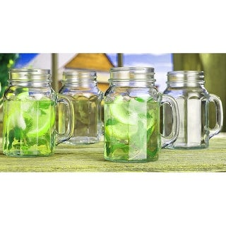 Palais Glassware Mason Jar Tumbler Mug with Handle - 17 Ounces - Set of 4 (Paneled Shape)