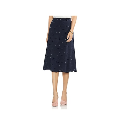 Vince Camuto Womens Maxi Skirt Hidden Back Zipper Polka Dot