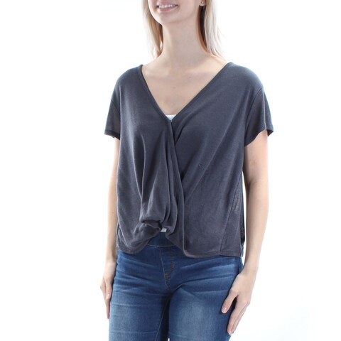 Womens Gray Short Sleeve V Neck Casual Faux Wrap Sweater Size XS