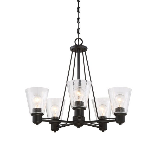 Designers Fountain 88085 Printers Row 5 Light Pendant with Clear Seedy Shade