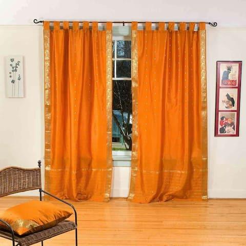 Mustard Tab Top Sheer Sari Curtain / Drape / Panel - Pair