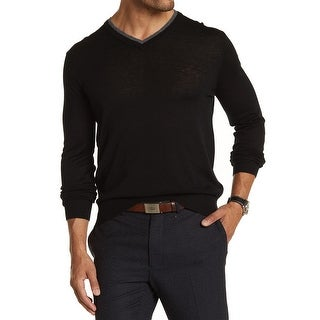 Toscano NEW Black Mens Size XL Double Collar V-Neck Wool Sweater