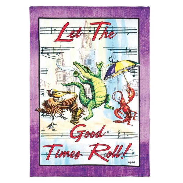 """Purple and White """"Let The Good Times Roll"""" Printed Rectangular Garden Flag 18"""" x 13"""" - N/A"""