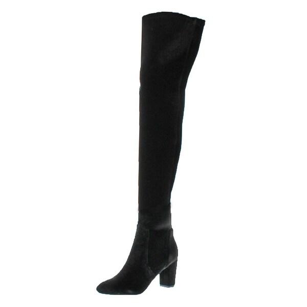 L4L by Lust for Life Womens Lex Over-The-Knee Boots Velvet Block Heel