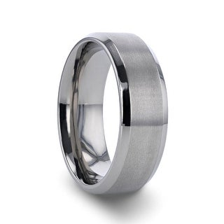 Link to Thorsten Shire | Titanium Rings for Men | Titanium Brushed Center Flat Wedding Ring with Polished Beveled Edges - 8 mm Similar Items in Men's Jewelry