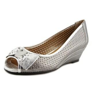 J. Renee Dovehouse Women  Open Toe Leather Silver Wedge Heel
