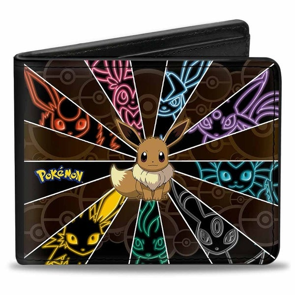 Eevee Electric Evolution Rays Pok Balls Browns Multi Color Bi Fold Wallet - One Size Fits most