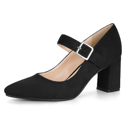 Women's Block Heel Pointed Toe Mary Jane Pumps
