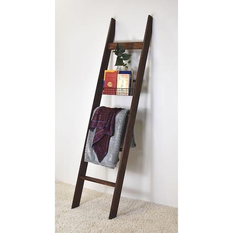 6ft Dark Brown Country Chic Decorative Blanket Ladder - Metal Basket