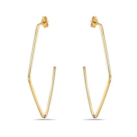 Pori 14K Yellow Gold Open Work Diamond Shape Stud Earrings