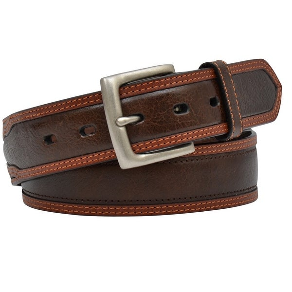 3D Belt Mens Western Overlay Double Stitching Roller Brown Tan