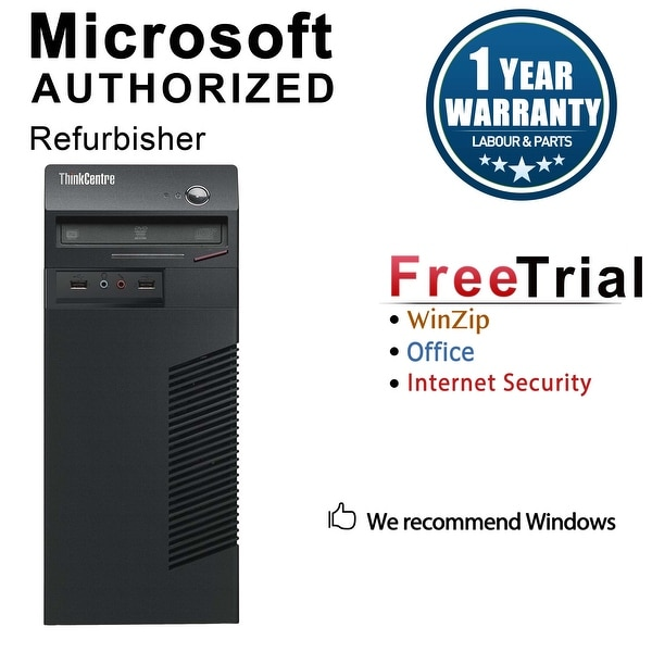 Lenovo ThinkCentre M71E Computer Tower Intel Core I3 2100 3.1G 8GB DDR3 1TB Windows 10 Pro 1 Year Warranty (Refurbished) - black