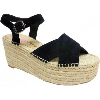 Penny Loves Kenny Women's Friend Platform Wedge Sandal Black Microsuede