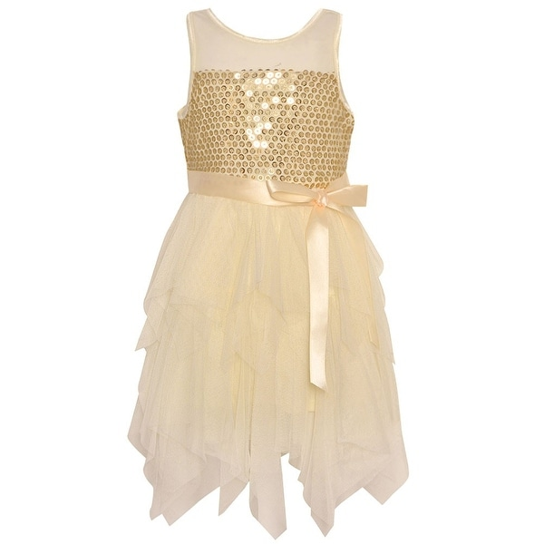 7c280edef62 Shop Girls Ivory Sequin Adorned Cascade Ruffle Tea-Length Special Occasion  Dress - Free Shipping On Orders Over  45 - Overstock - 25542057