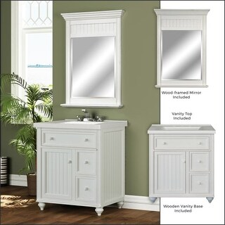 "Miseno MVDCR30COM 30"" Bathroom Vanity Set - Cabinet, Stone Top and Mirror Includ"