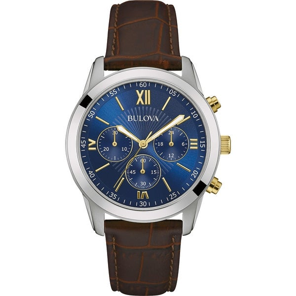 Bulova Men's 98A151 Classic Stainless Chrono Brown Leather Strap Watch - Silvertone. Opens flyout.