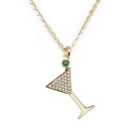 """Julieta Jewelry CZ Martini Glass Gold Charm 16"""" Necklace"""