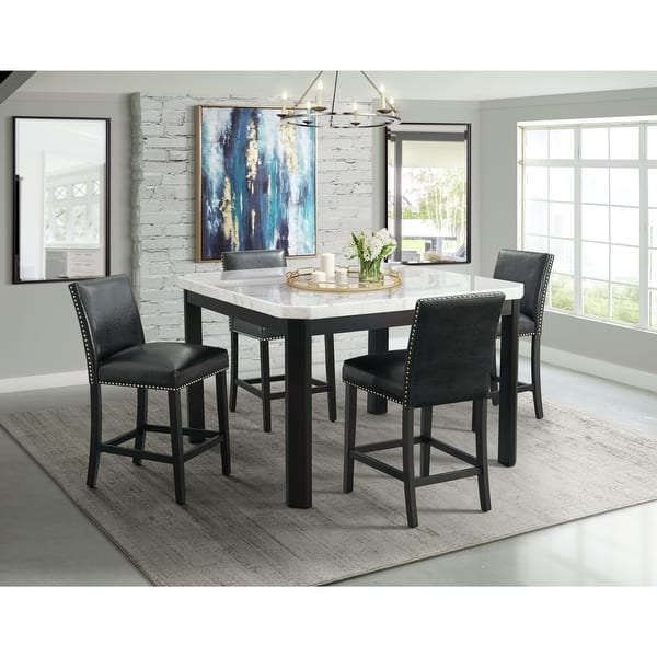 Picket House Furnishings Celine White Marble 5pc Counter Height Dining Set Table Four Black Faux Leather Chairs Overstock 31279466