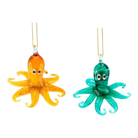 Coastal Green and Yellow Octopus Glass Christmas Holiday Ornaments Set of 2