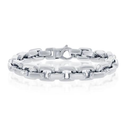 La Preciosa Mens 10.5mm Matte Anchor 8.5 Link Bracelet Stainless Steel Jewelry for Men