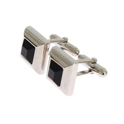 Dolce & Gabbana Silver Brass Black Stone Cufflinks