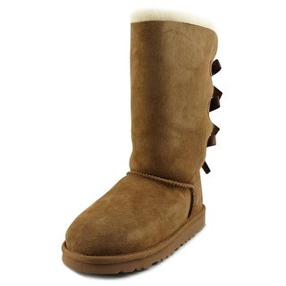 Ugg Australia Bailey Bow Tall Youth Round Toe Suede Tan Winter Boot