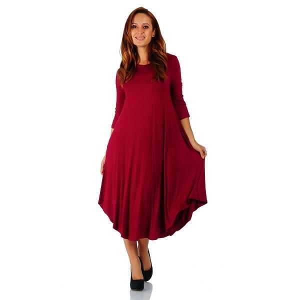 Simply Ravishing 3/4 Sleeve Rounded Hem Mid-Length Maxi Dress (Size: S-5X)