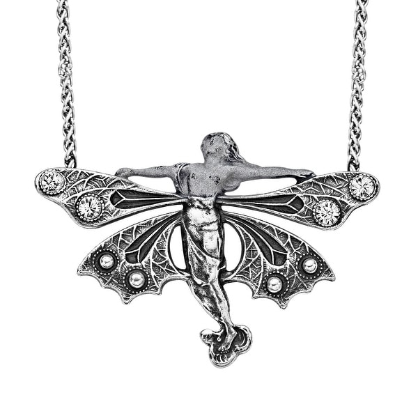 Van Kempen Art Nouveau Fairy Necklace with Swarovski Crystals in Sterling Silver - White