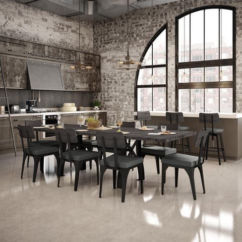 Amisco Sierra Extendable Table and Symmetry Chairs 9-piece Dining Set