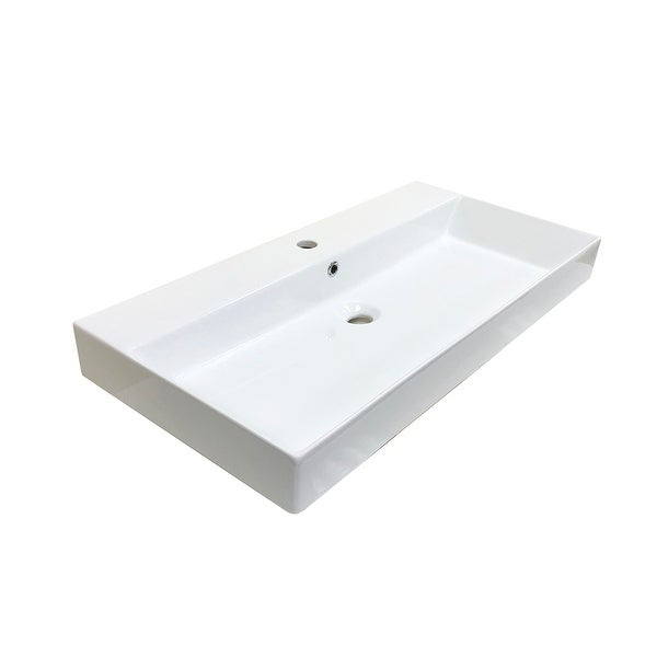 "WS Bath Collections Energy 85 Energy 33-1/2"" Ceramic Vessel Bathroom"