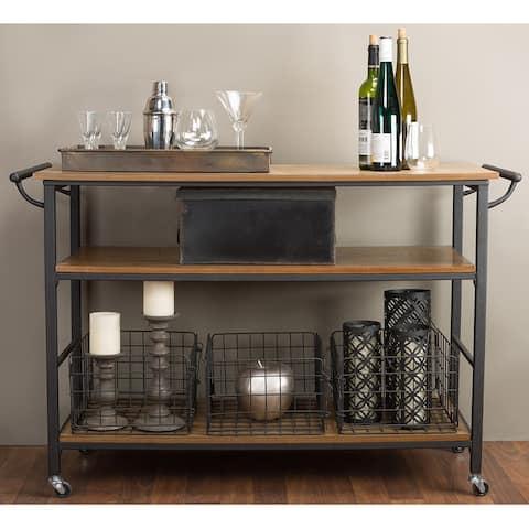 Carbon Loft Leslie Metal and Wood Rustic Kitchen Cart