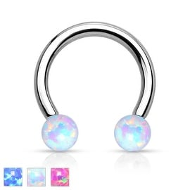 Synthetic Opal Horseshoe 316L Surgical Steel Circular Barbell (Sold Ind.)